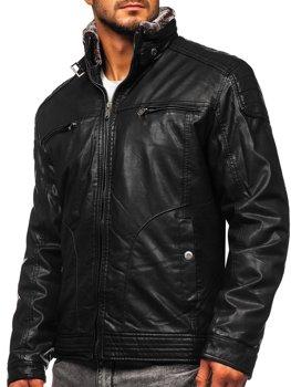 Čierna pánska koženková bunda BOLF EX839