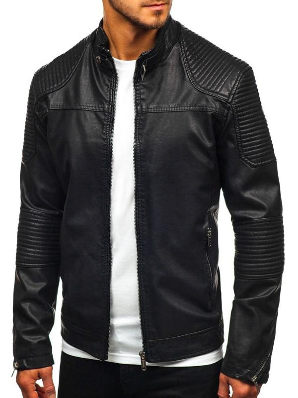 Čierna pánska koženková bunda BOLF EX911