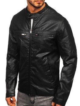 Čierna pánska koženková bunda Bolf  1130