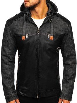 Čierna pánska koženková bunda Bolf Ex361