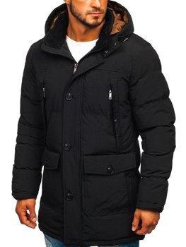 Čierna pánska zimná bunda parka Bolf 1097