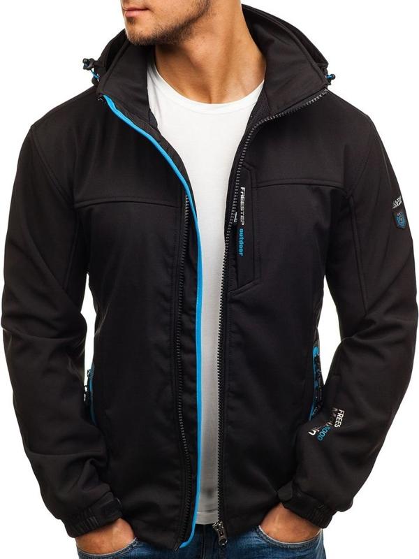 Čierno-modrá pánska softshellová bunda BOLF 5532