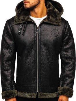 Čierny pánsky koženkový kabát Bolf 88197
