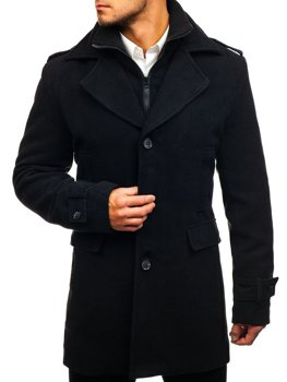Čierny pánsky zimný kabát BOLF 1808
