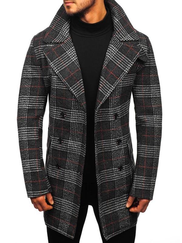 Čierny pánsky zimný kabát Bolf 1116
