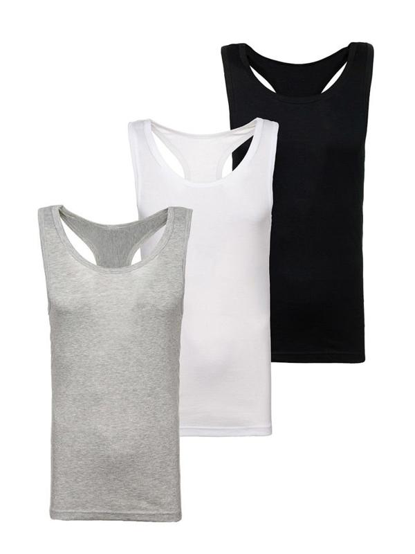 Farebné pánske tričko 3ks bez potlače Bolf C10013-3P-B