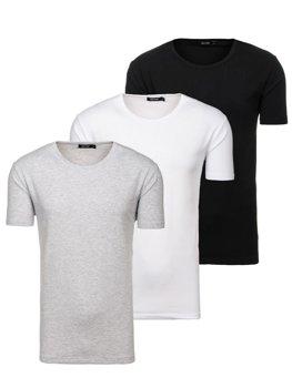 Farebné pánske tričko bez potlače BOLF 798081-3P 3 KS