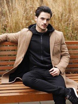 Kamelový pánsky zimný kabát Bolf 1047B