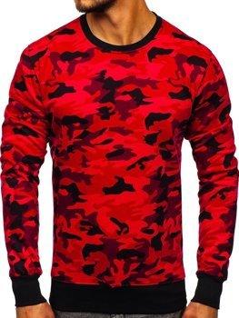 Maskáčovo-červená pánska mikina bez kapucne BOLF DD129-2