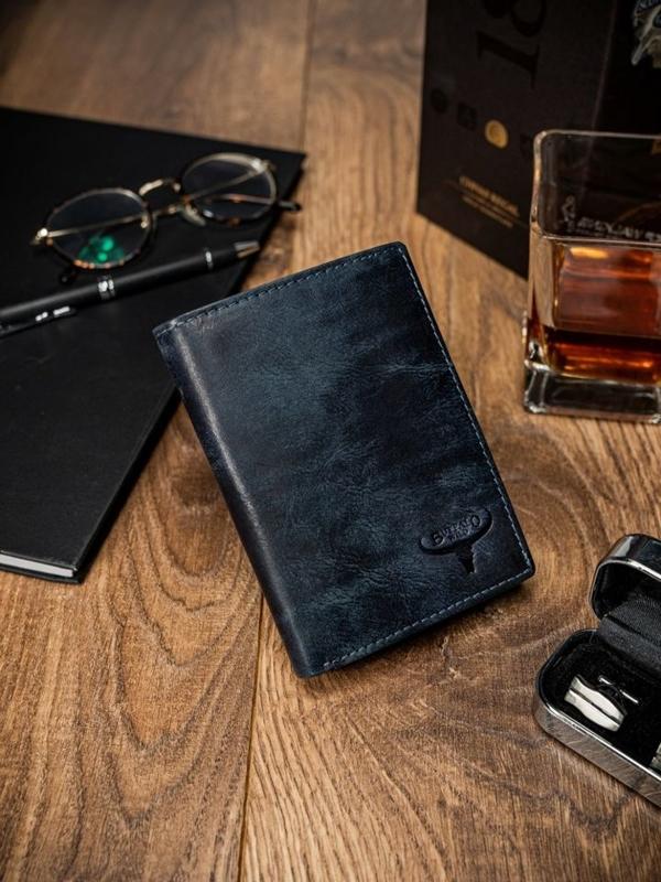 Modrá pánska kožená  peňaženka 1651