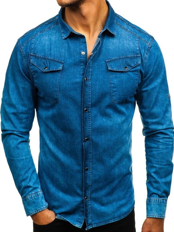 Modrá pánska riflová košeľa s dlhými rukávmi BOLF 2639