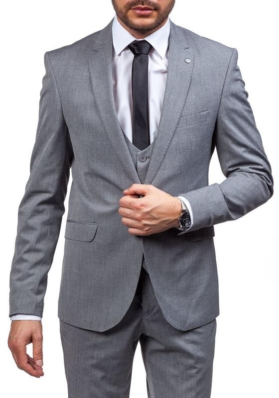 Pánsky šedý oblek  Bolf 5005