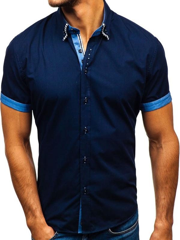 Tmavomodrá pánska košeľa s krátkymi rukávmi BOLF 2911-1
