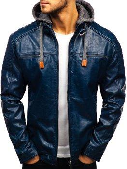 Tmavomodrá pánska koženková bunda BOLF ex703