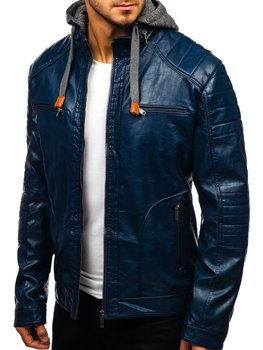 Tmavomodrá pánska koženková bunda BOLF ex707