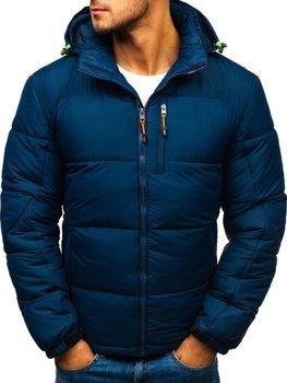 Tmavomodrá pánska prešívaná športová zimná bunda Bolf AB71
