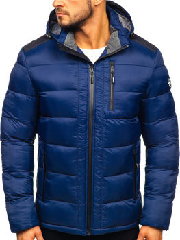 Tmavomodrá pánska prešívaná športová zimná bunda Bolf  AB98
