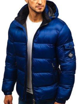 Tmavomodrá pánska prešívaná zimná bunda Bolf AB64