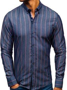 Tmavomodrá pánska prúžkovaná košeľa s dlhými rukávmi BOLF 8837
