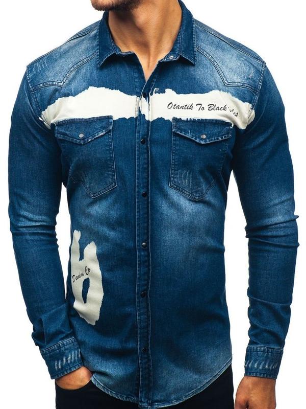 Tmavomodrá pánska riflová košeľa s dlhými rukávmi BOLF 2063-1