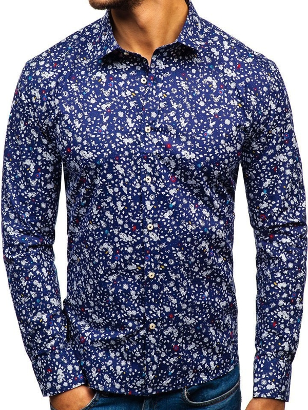 Tmavomodrá pánska vzorovaná košeľa s dlhými rukávmi BOLF 300G12