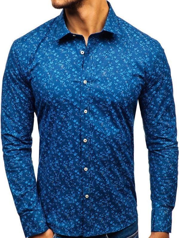Tmavomodrá pánska vzorovaná košeľa s dlhými rukávmi BOLF 300G6