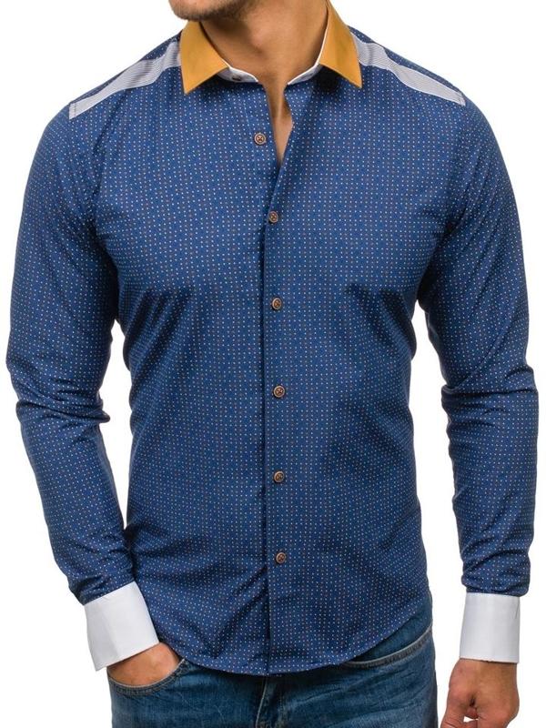 Tmavomodrá pánska vzorovaná košeľa s dlhými rukávmi BOLF 8805