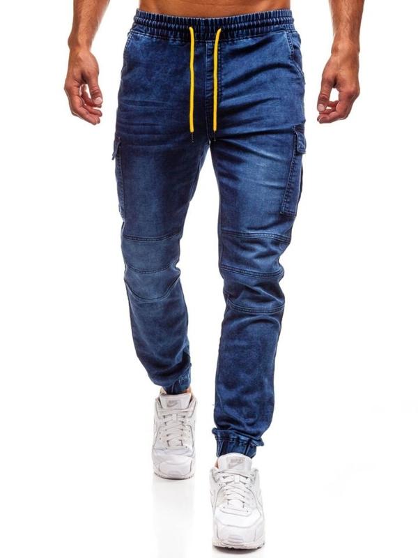 Tmavomodré pánske riflové jogger nohavice BOLF Y263