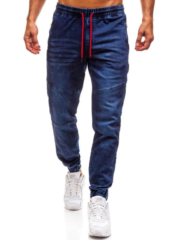 Tmavomodré pánske riflové jogger nohavice BOLF Y267