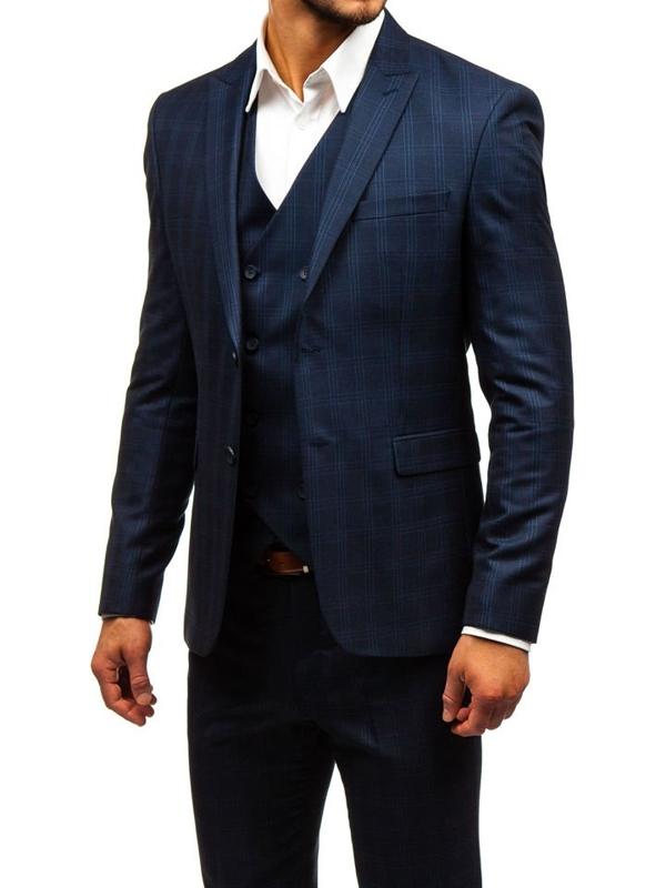 Tmavomodrý pánsky károvaný oblek s vestou BOLF 17100