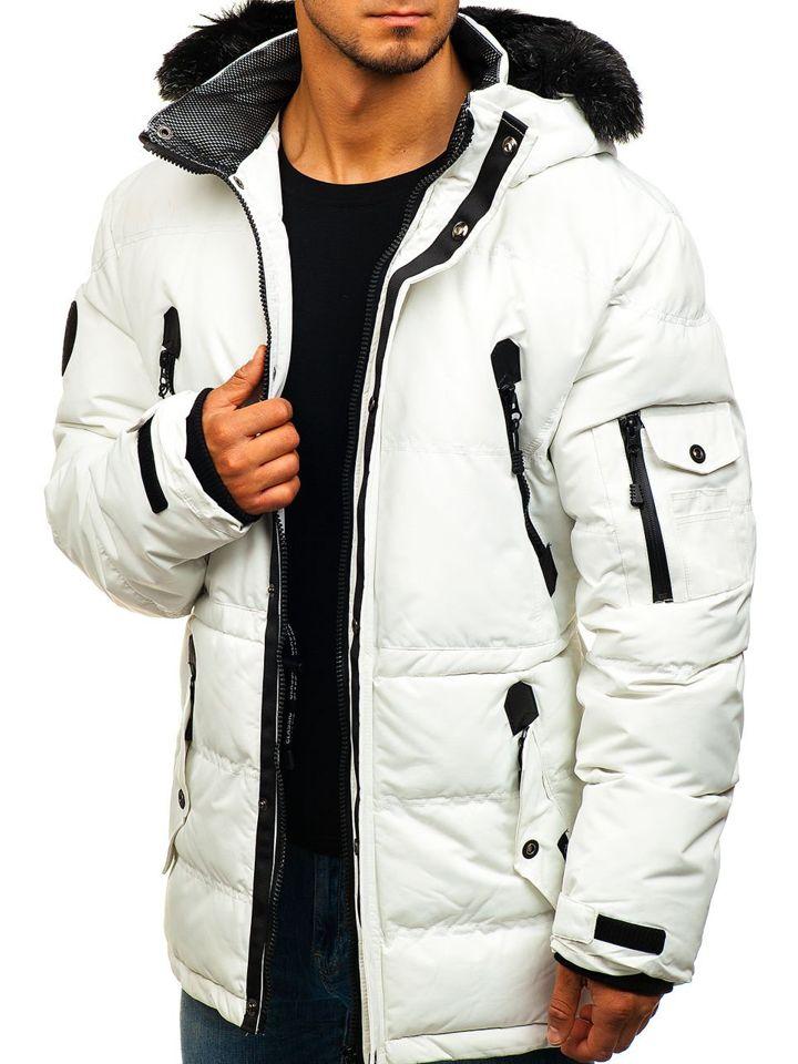 b5c356624 Biela pánska lyžiarska zimná bunda parka BOLF 5423