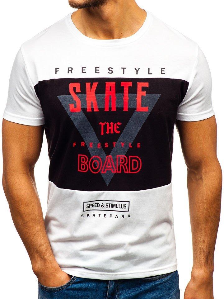887d32480750 Biele pánske tričko s potlačou BOLF 10830