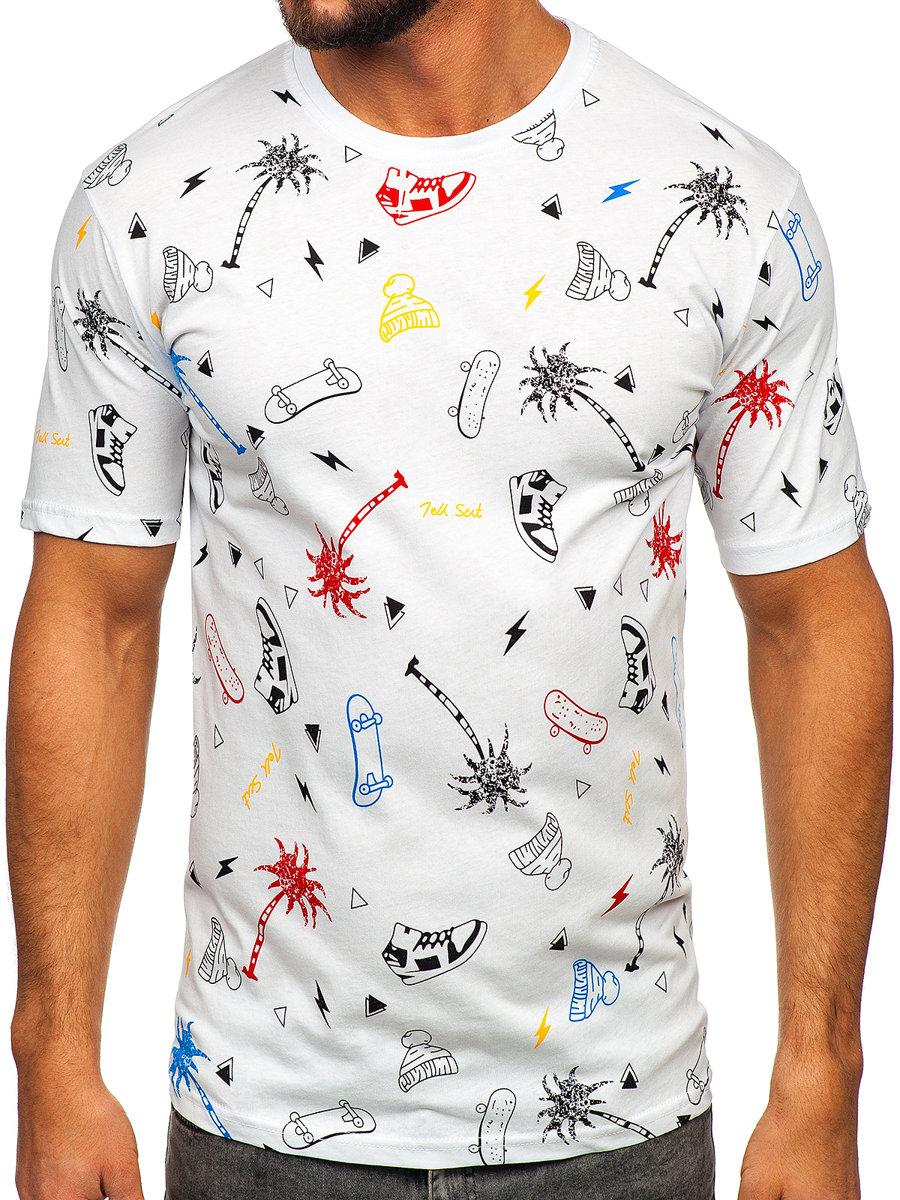 Biele pánske tričko s potlačou BOLF 1150 3d191250096