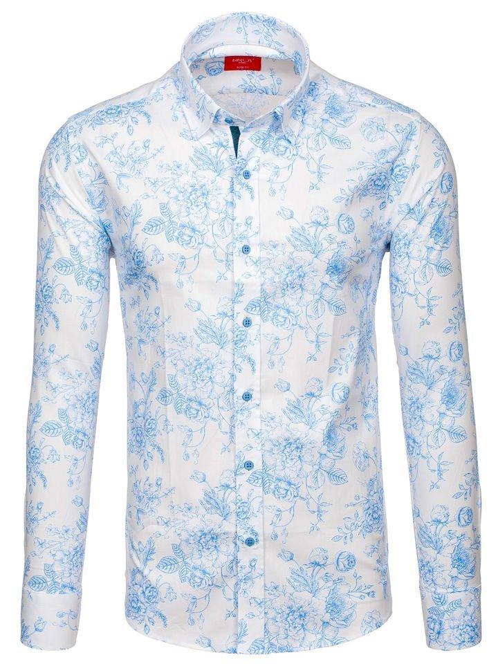 1814801c0700 Bielo-modrá pánska vzorovaná košeľa s dlhými rukávmi BOLF 470G16