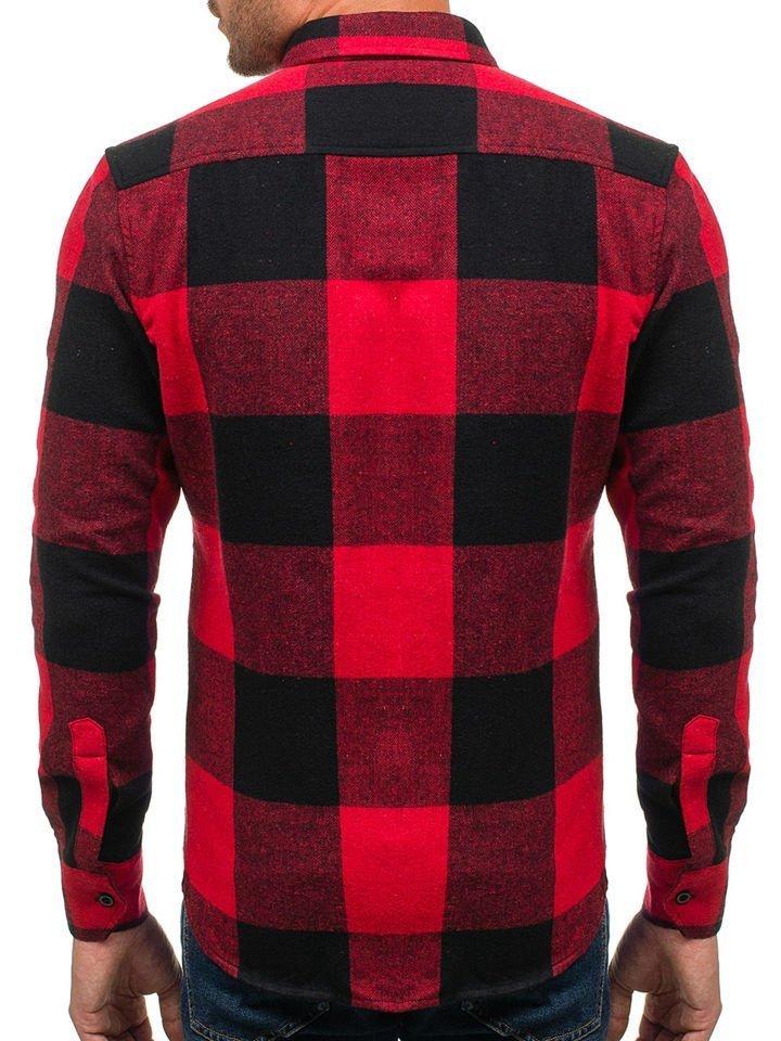 2705d5b26ebc Červená pánska flanelová košeľa s dlhými rukávmi BOLF 801