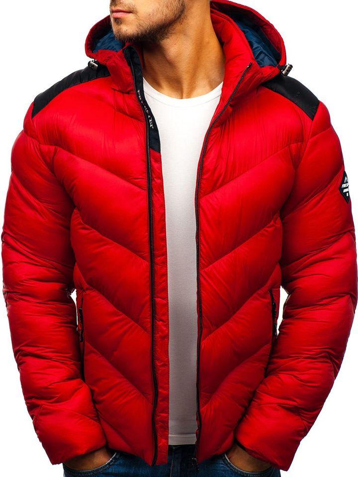 6dc6d2b34 Červená pánska športová zimná bunda BOLF AB100