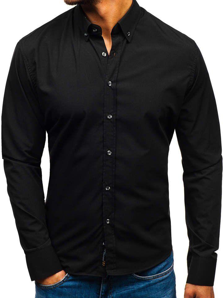 27f688d81545 Čierna pánska elegantná košeľa s dlhými rukávmi BOLF 5821