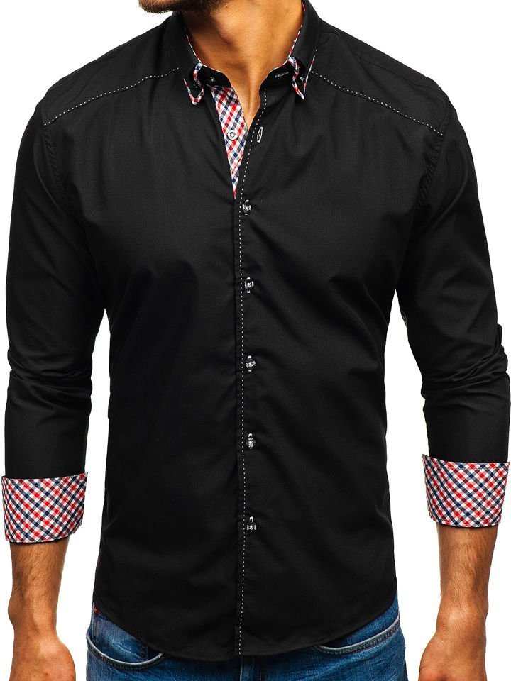 025ab4adcc57 Čierna pánska košeľa s dlhými rukávmi BOLF 3707