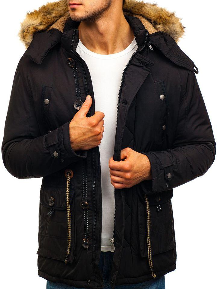 0645241d48a8 Čierna pánska zimná bunda parka BOLF 1021