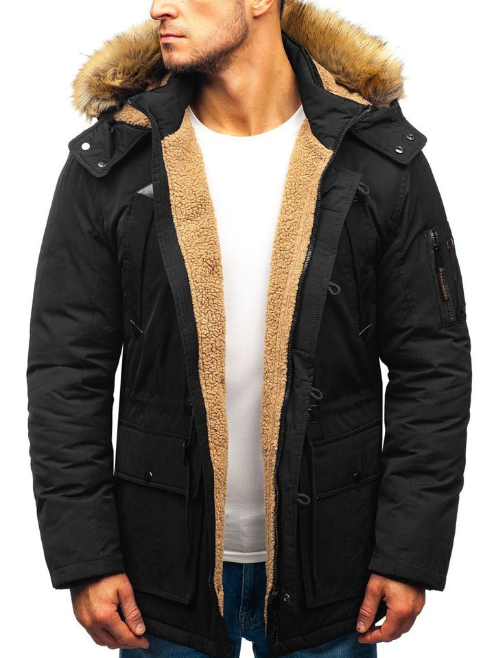 1c77b2c6e842 Čierna pánska zimná bunda parka BOLF 1071