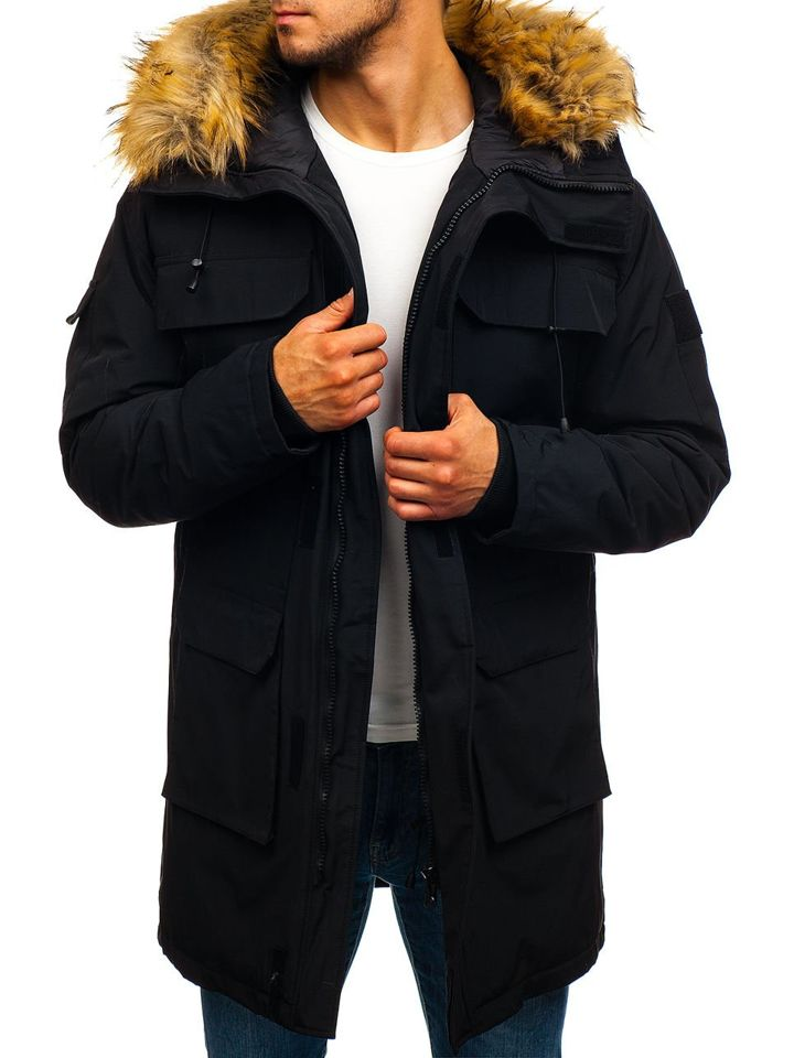 Čierna pánska zimná bunda parka BOLF 201806 4835d71c660