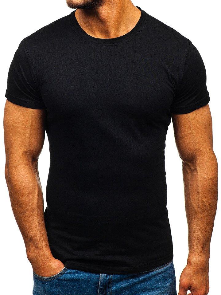 0681a8464309 Čierne pánske tričko bez potlače BOLF S02
