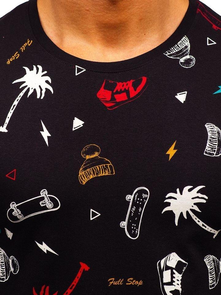d04952365aeaf Čierne pánske tričko s potlačou BOLF 1150-A