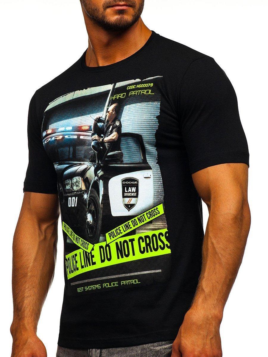 4c9312ffe78f Čierne pánske tričko s potlačou BOLF 6298