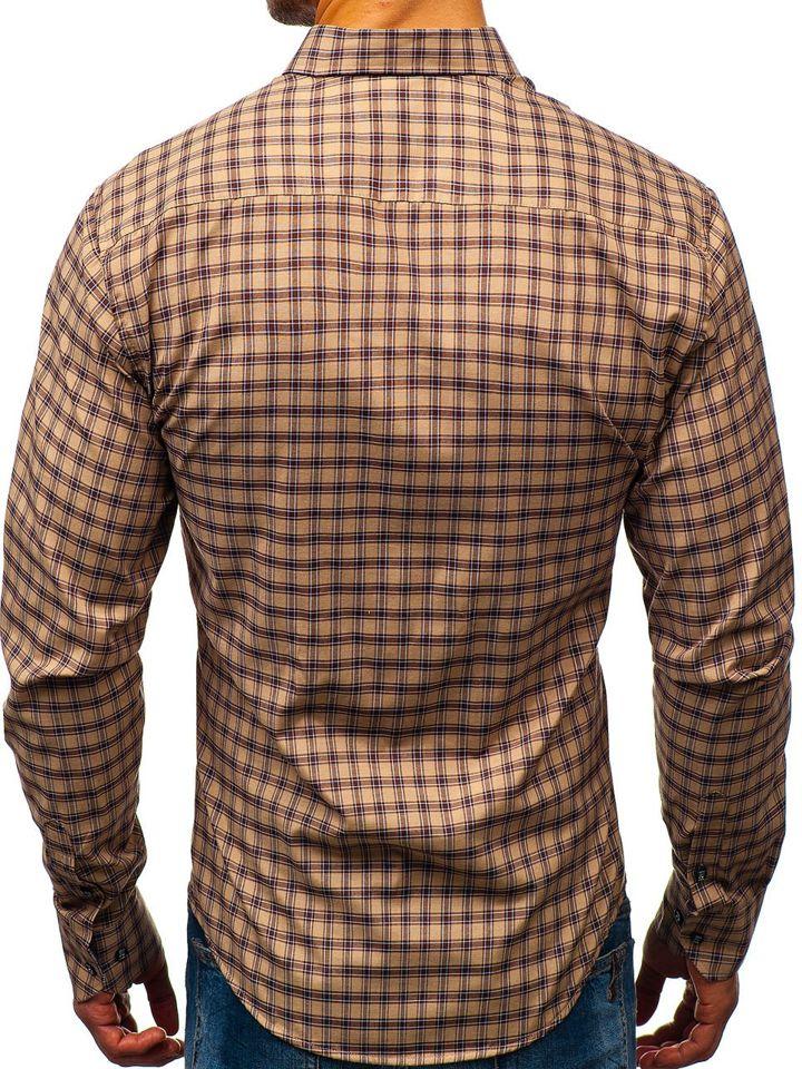 3899da3f07 Hnedá pánska károvaná košeľa s dlhými rukávmi BOLF 8833