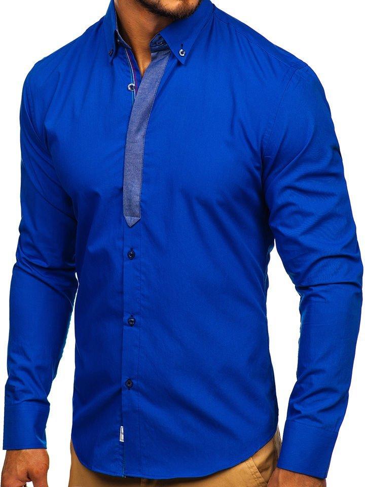 07c55594255e Kráľovsky modrá pánska elegantná košeľa s dlhými rukávmi BOLF 3725