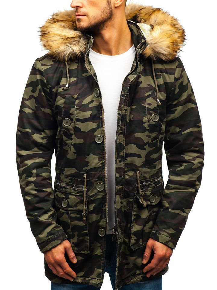 Maskáčovo-zelená pánska zimná bunda parka BOLF 88620 50ac852df90
