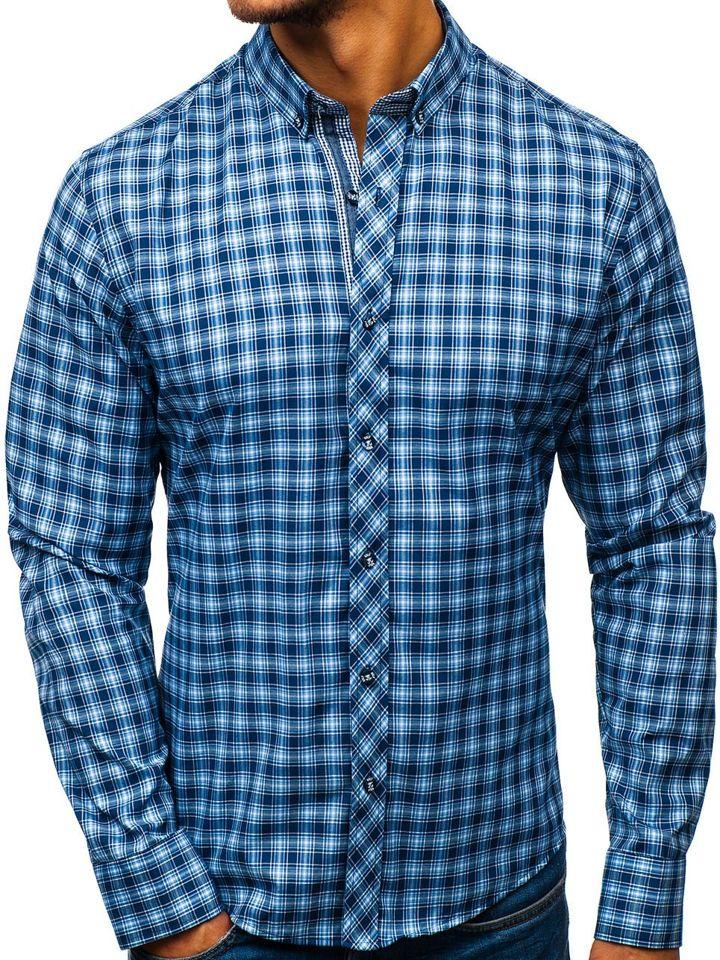 0eb5da5b8c7f Modrá pánska károvaná košeľa s dlhými rukávmi BOLF 8834