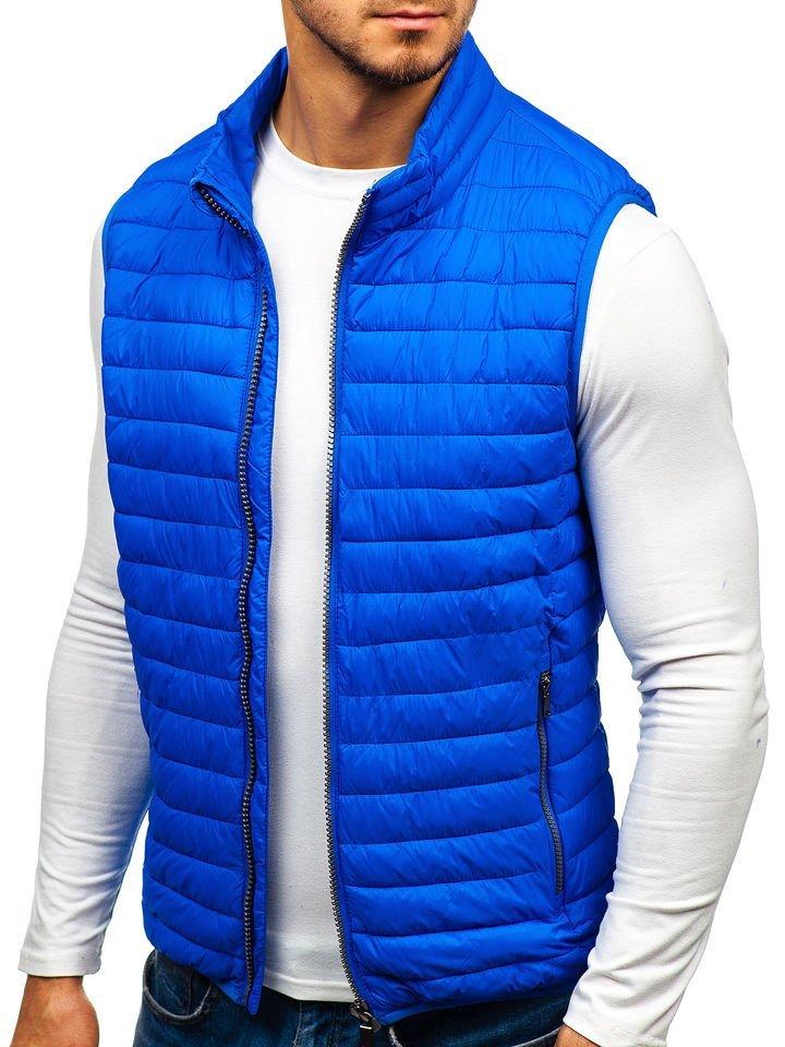 Modrá pánska prešívaná vesta BOLF 1253 c47f796a919