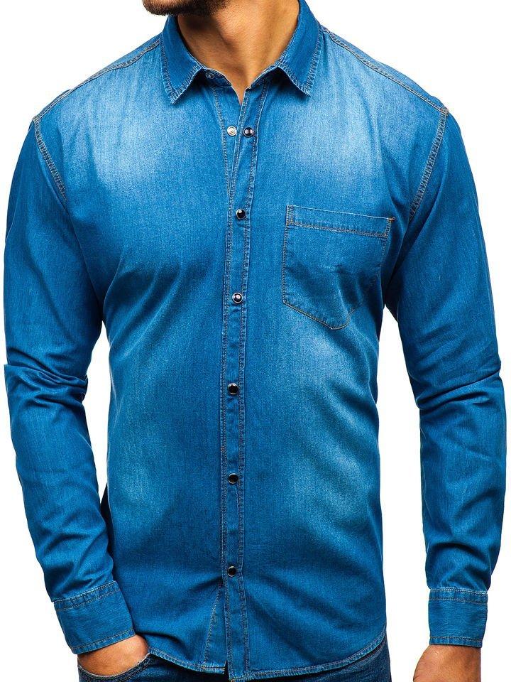 9220fd903900 Modrá pánska riflová košeľa s dlhými rukávmi BOLF 1316